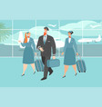 an airplane crew at the airport vector image