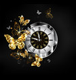 antique clock with golden butterflies vector image vector image