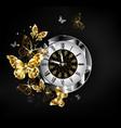 antique clock with golden butterflies vector image