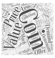 BWCC what affects the value of a coin Word Cloud vector image vector image