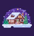 cartoon christmas house by snowy winter night vector image