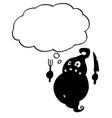 cartoon crazy flat black fat monster ghost vector image vector image