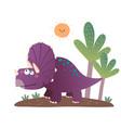 cartoon triceratops dinosaur vector image