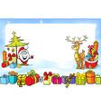 christmas frame with Santa Claus sleights many vector image vector image