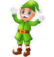 christmas old elf waving hands vector image vector image