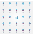 Colorful wine glasses icons vector image vector image