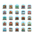 commercial buildings flat icons vector image