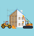 crane and bulldozer with building in process vector image
