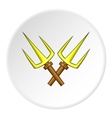 Crossed tridents icon cartoon style vector image vector image