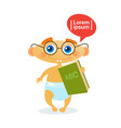 cute baby boy holding book toddler happy cartoon vector image