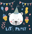 cute cartoon little animal childish print for vector image