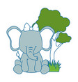 cute elephant in landscape vector image