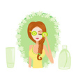 Cute woman applying moisturizer vector image