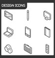 design outline isometric icons vector image