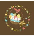 Easter bunnies sitting in a basket with eggs vector image