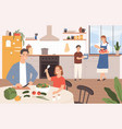 family cooking together happy parents vector image vector image