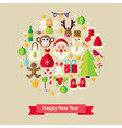 Flat Style Happy New Year Objects Concept vector image