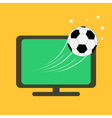Football soccer ball flying from TV set Orange vector image