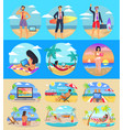 freelance summer people set vector image vector image