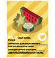 fruit color isometric poster vector image