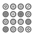Gears icon set in circles vector image vector image