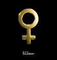 golden venus sign isolated on black background 3d vector image