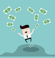 happy businessman jumping surrounded by money cute vector image