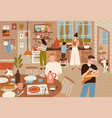 happy family cooking in kitchen and serving dining vector image vector image