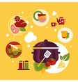 Healthy Fresh Food Depicting Cooking Process vector image vector image
