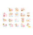 ice cream labels set colorful hand drawn vector image vector image