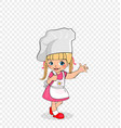 little girl chef with cake on plate kids menu vector image