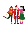 merry christmas celebration family wearing ugly vector image vector image
