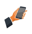 Mobile Phone in Hand Icon on White Background vector image