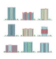 modern city apartment buildings flat set vector image vector image