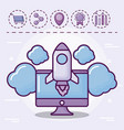 monitor with startup rocket and set icons vector image vector image