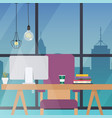 office work place flat design modern business vector image