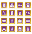 oil industry icons set purple square vector image vector image
