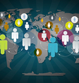 People in Circles on World Map - Social Media vector image