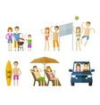people on vacation icons set travel journey vector image