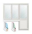 plastic window opened door home white vector image