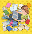 pop art female student reading books vector image
