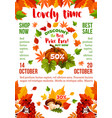 sale banner with autumn leaf fall season pumpkin vector image vector image
