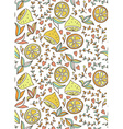 Seamless hand-draw pattern with lemon and flowers vector image