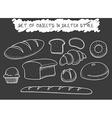 Set 10 bread baking doodle drawn in chalk Sketch vector image