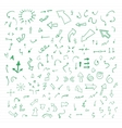 Set of green hand drawn arrows vector image vector image