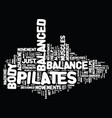 the balanced body pilates miracle text background vector image vector image