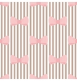 Tile pink bows on brown and white stripes pattern vector image vector image