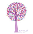 Tree silhouette with butterflies isolated on white vector image