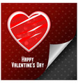 valentines day card with hearts and red pattern vector image