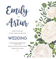 wedding invite card design with white flowers vector image vector image